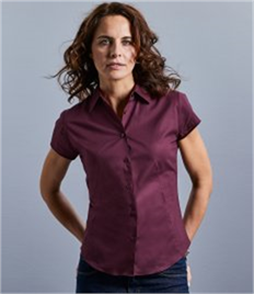 Russell Collection Ladies Short Sleeve Easy Care Fitted Shirt